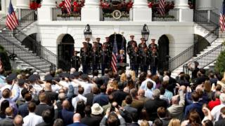 People gather for the celebration of America event at the White House