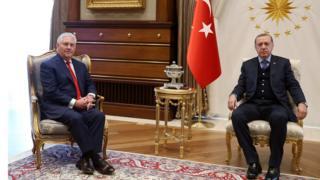 ABD Dışişleri Bakanı Rex Tillerson ve Cumhurbaşkanı Recep Tayyip Erdoğan