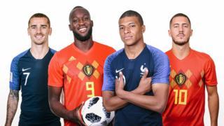 Antoine Griezmann, Romelu Lukaku, Kylian Mbappe àti Eden Hazard