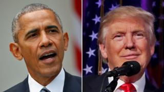 """Cənab Obama bir müdət əvvəl cənab Trump-ın ofisə """"uyğun olmadığını"""" desə də indi bütün Amerikanı seçkinin nəticələrini tanımağa səsləyir"""