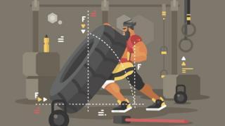 Ilustração mostra homem forte levantando pneu em meio a outros equipamentos de musculação