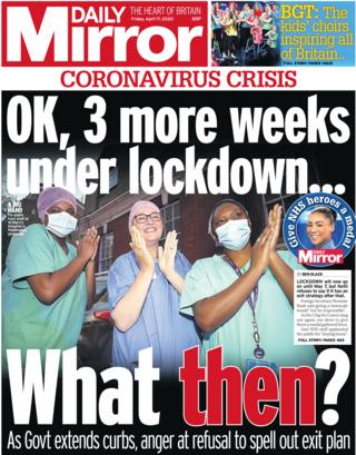 Daily Mirror front page, 17/4/20