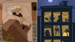 Drawings show a woman lying in bed, covering her face, and lit-up windows of a shared building complex