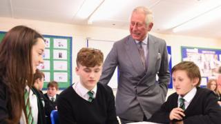 Prince Charles at Pen-y-Dre High School, Gurnos, Merthyr Tydfil