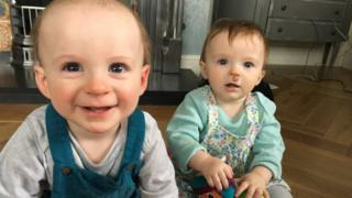 Baby twins Alfie and Esme.