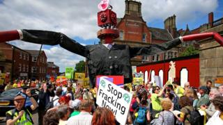 Fracking protesters in Lancashire