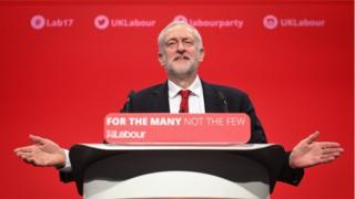 Jeremy Corbyn giving speech at Labour party conference