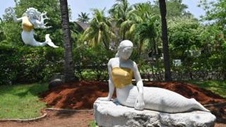 Mermaid statues covered up at Ancol Dreamland theme park in Indonesia's capital, Jakarta