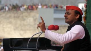 Akhilesh Yadav addresses a rally