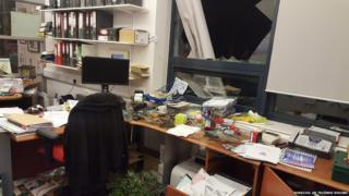 Damage in the school office
