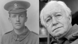 Arnold Ridley as a soldier and as an actor