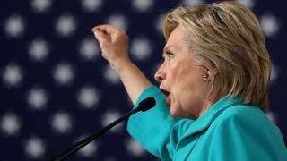 Hillary Clinton gives a speech criticising Donald Trump in Reno, Nevada.