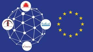 Graphic showing the logos of some fake sites in the network alongside the stars of the European Union