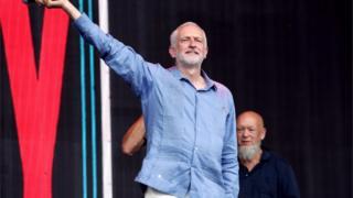 Jeremy Corbyn with Michael Eavis