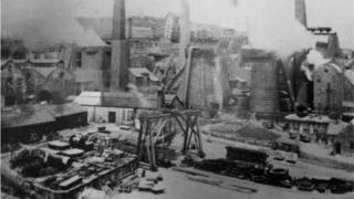 Old photo showing steelworks in 1890s