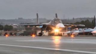 Russian SU-34 multi-dimensional bomber taking off from the Hmeimim airbase (March 2016)