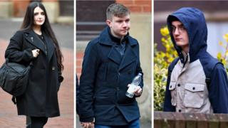 Alice Cutter, Garry Jack and Connor Scothern arrive at Birmingham Crown Court