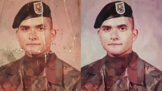 The army picture of Gary Connolly, from Campo, California, was restored after his son posted it on a Reddit forum. He first thought it was taken in 1976, later corrected by his dad to 1977