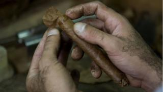 A man rolls a cigar at the Cohiba factory in Havana, on 27 February 2008.