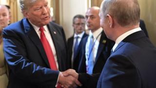 US President Donald Trump (left) and Russian President Vladimir Putin (right) in Helsinki, Finland. Photo: 16 July 2018