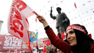 أنصار إردوغان يرفعون الرايات تأييدا له