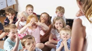 Children following teacher's instruction