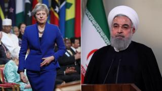 Theresa May and Hassan Rouhani