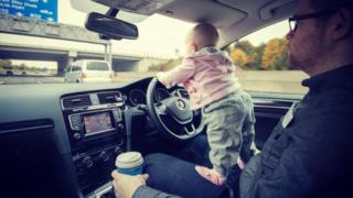 Hannah Crowley (18 months) navigates her way towards Dublin's notorious M50 ring road