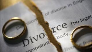 обручальные кольца на фоне слова развод