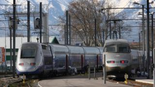 View taken on February 17, 2009 shows high-speed TGV trains in Perpignan, southern France in front of the Canigou mountain