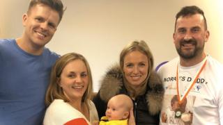Jake Humphrey with Ross and Naomi Coniam and baby Ernie
