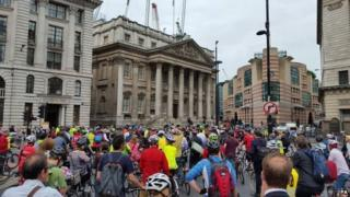 cyclists at Bank junction, London