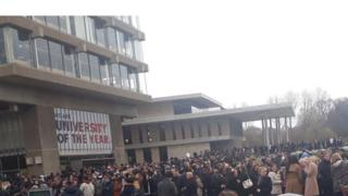 Students outside at University of Essex during the evacuation