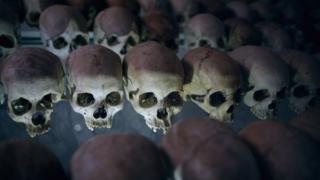 Skulls at the Ntarama Catholic Church genocide memorial in Rwanda - archive shot