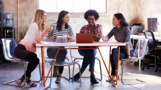 group of women in the workplace