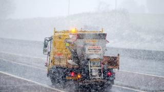 Gritter salting the M1 motorway