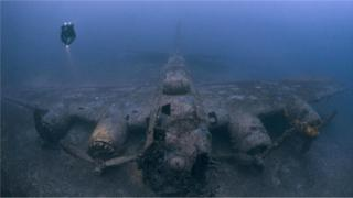 Останки бомбардировщика B-17G Flying Fortress, сбитого во время Второй мировой у берегов Хорватии