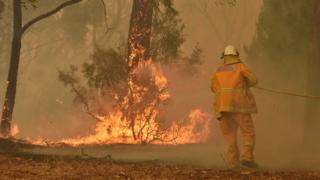 A fireman fights a bushfire to protect a property in Balmoral, 150 kilometres southwest of Sydney