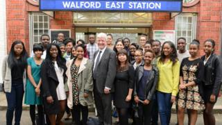 BBC Director General Tony Hall with members of Creative Access, the charity that helps to tackle the under-representation of ethnic minorities in the media
