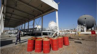 Oil barrels at Bai Hassan oil field in Iraq