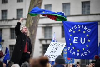 Pro-EU activists protest at Parliament Square as people prepare for Brexit on 31 January 2020 in London, United Kingdom.