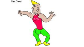 This crude MS Paint cartoon drawing of 'Chad' is used many memes