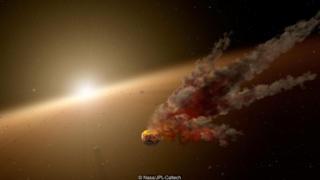 ภาพจากจินตนาการของศิลปินแสดงให้เห็นว่าความสว่างของดาว KIC 8462852 ลดลงถึง 22% เป็นช่วง ๆ