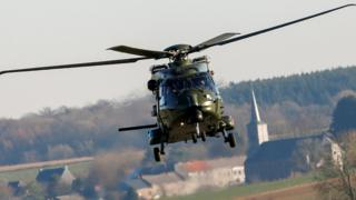 NH90 helicopter in Black Blade military exercise involving several European countries in Belgium - 30 November