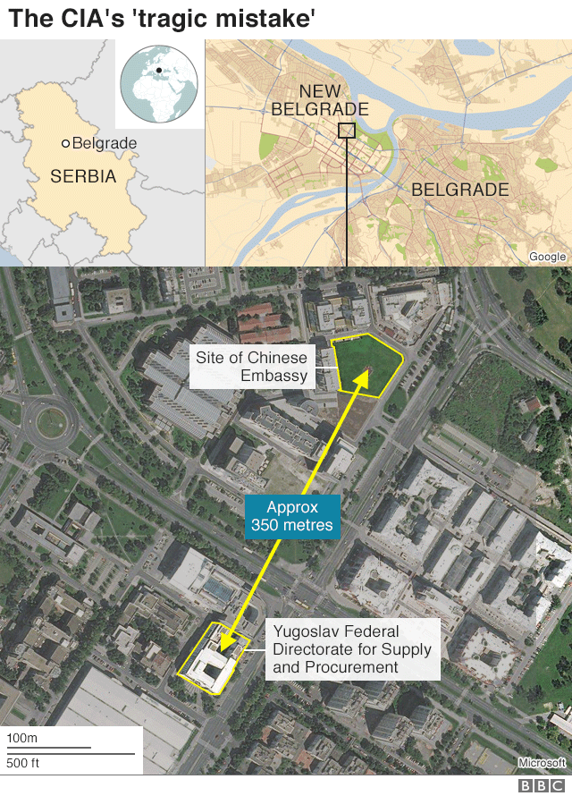 Map showing location of Chinese embassy, 350 metres away from the FDSP