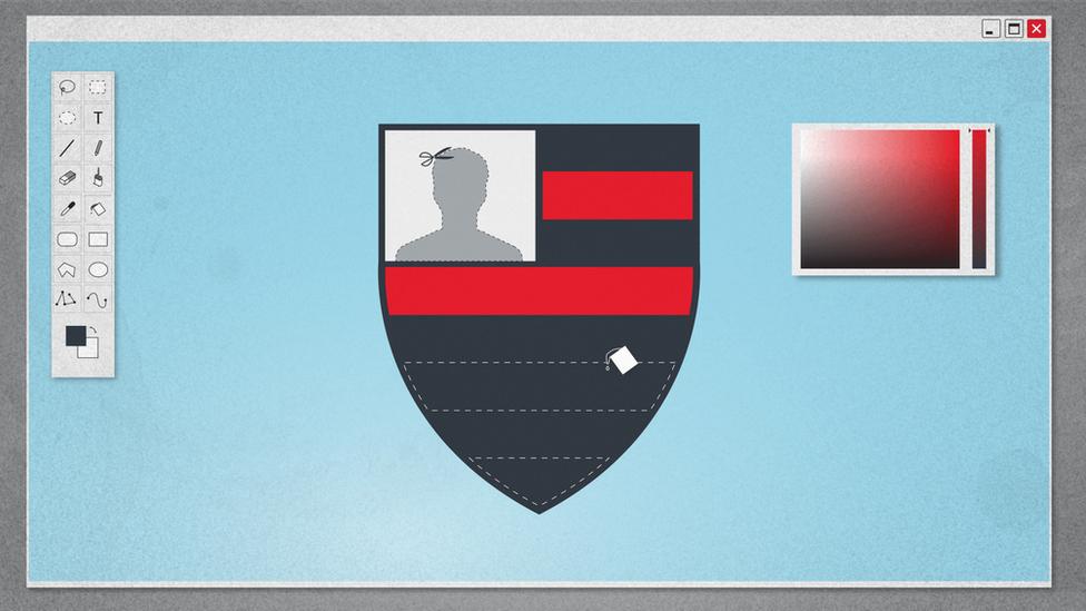 Ilustração mostra foto alterada em escudo do Flamengo