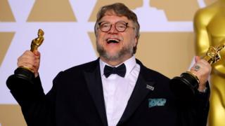 "Guillermo del Toro with the Best Director Award and the Best Picture Award for ""The Shape of Water"" on 4 March 2018"