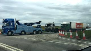 Lorry fire scene