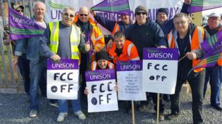 Waste recycling workers standing at a picket line