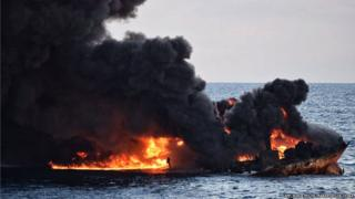 "It shows smoke and flames coming from the burning oil tanker ""Sanchi"" at sea off the coast of eastern China"